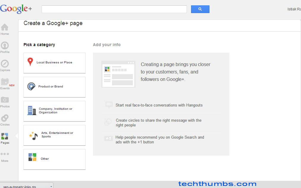 how to create a google plus page for my website