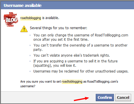 Confirmation of Facebook username