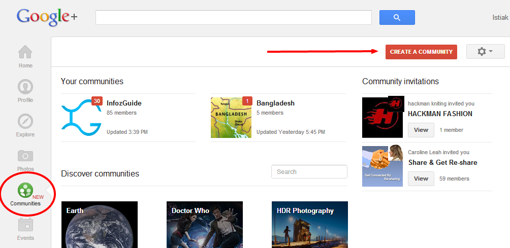 Creating a G+ Community Page