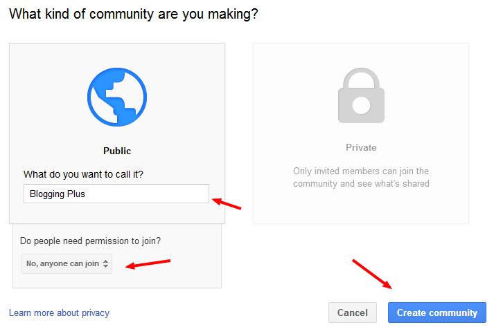 Selecting a Community