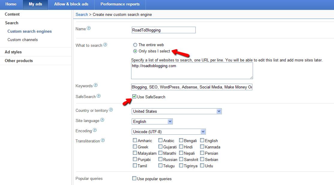 Create new Google Custom Search Engine