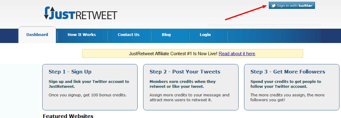 Sign Up on JustRetweet