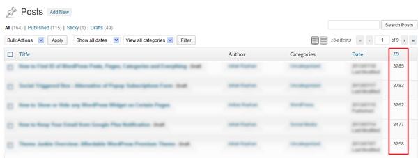 WordPress Post, Page, Category ID