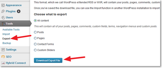 Export in WordPress Dashboard