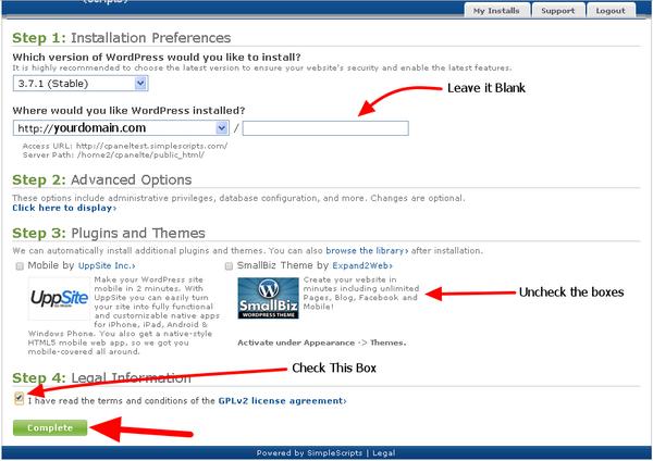 Blue Host One Click WordPress Install