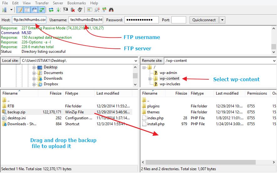 Upload Backup to New Host