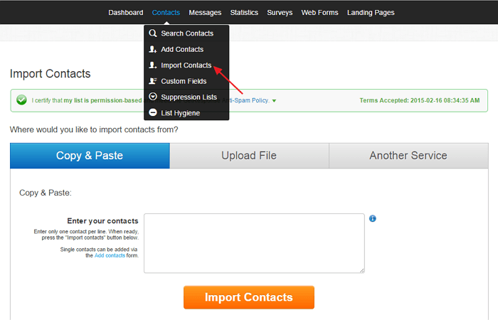 Import contacts to GetResponse
