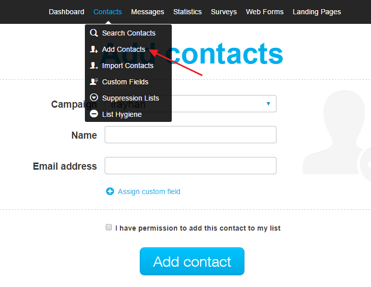 add contacts to getresponse
