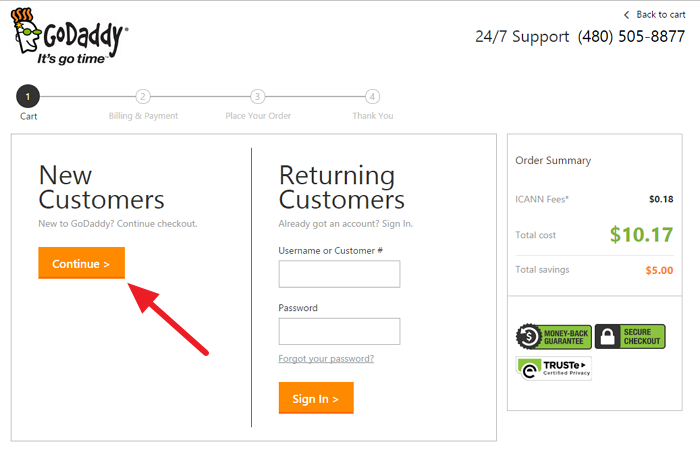 Godaddy new customers