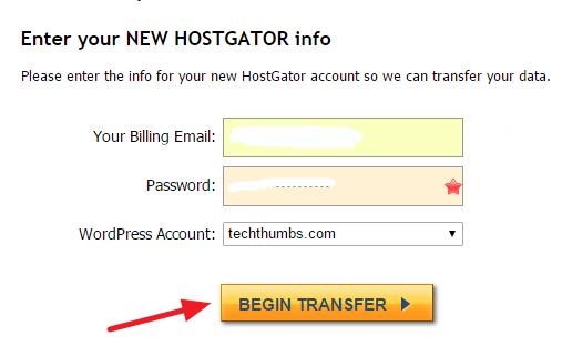 HostGator account information