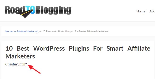 cheatin huh WordPress error