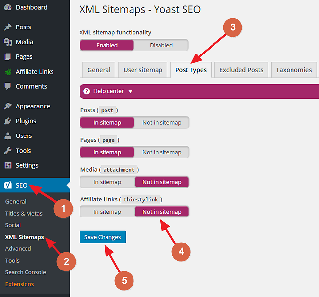 exclude affiliate links from sitemap