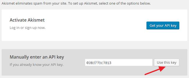 Enter Akismet API Key