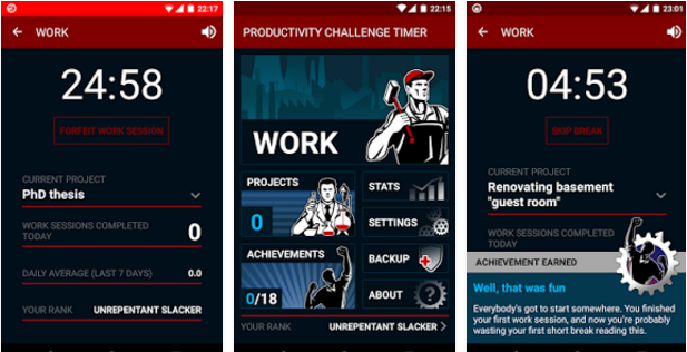 Productivity Challenge Timer Android App