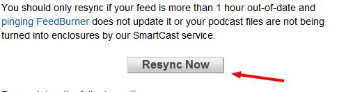 'Resync Now' button on Feedburner