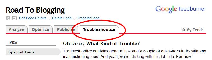 Troubleshootize option on FeedBurner