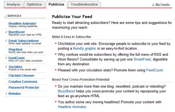 FeedBurner Publicize Setting