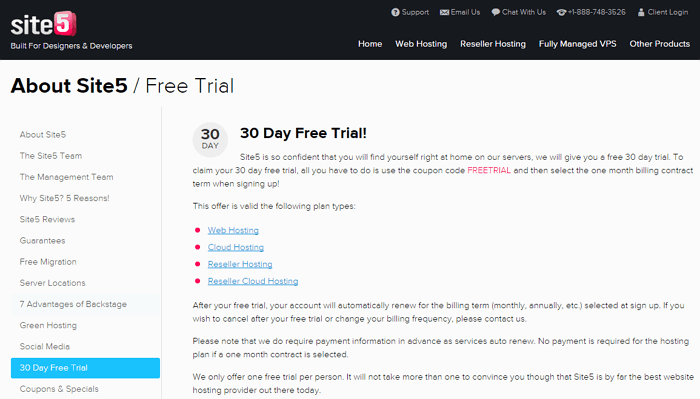 Site5 30 Day Free Trial