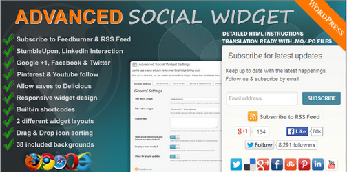 Advance Social Widget WordPress Plugin