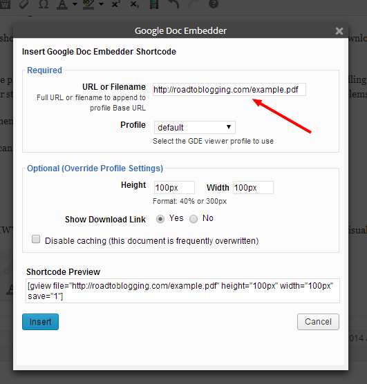 Paste the PDF's URL that you copied into the URL field.