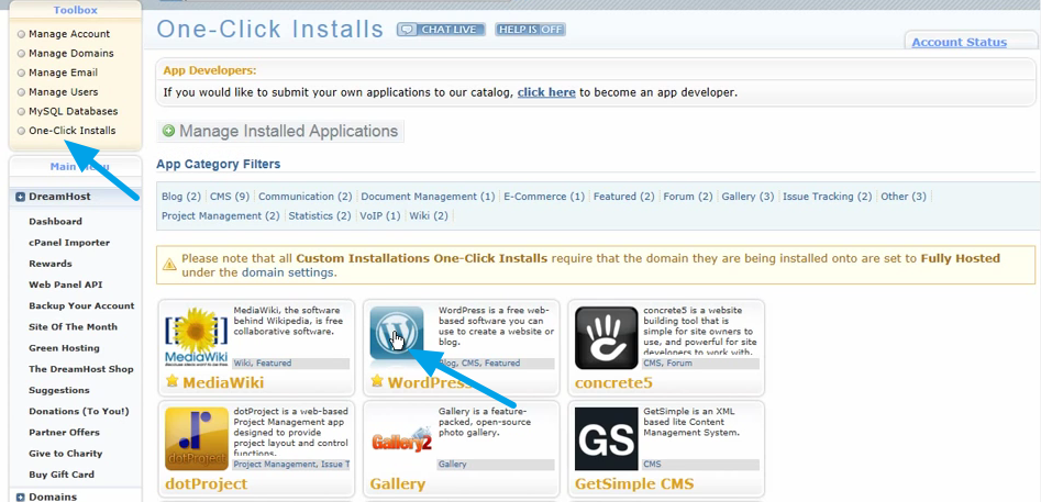 Dreamhost one click WordPress Install