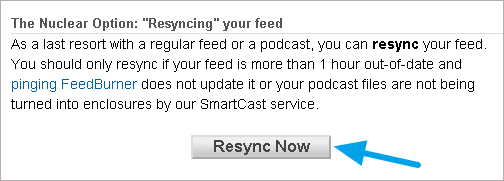 Feedburner Resync Now