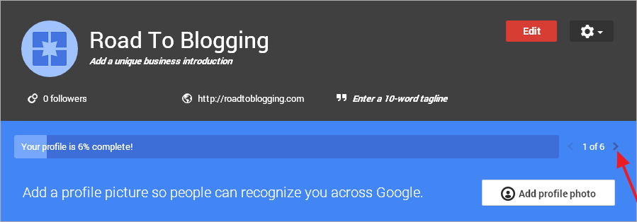 completing google plus page