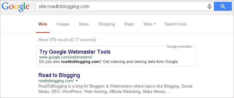 google indexed blog
