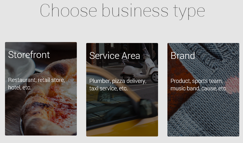google plus page business type