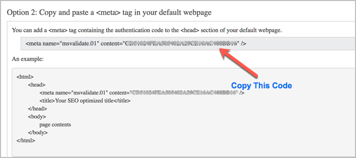 Bing Webmaster Tools Meta Tag