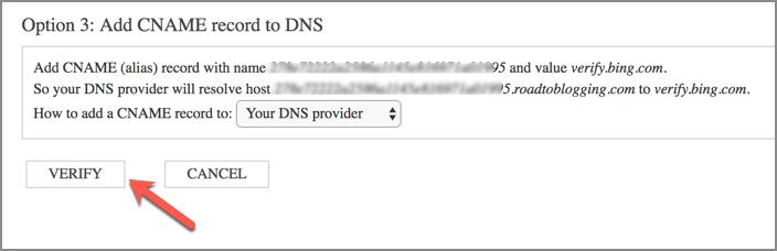 Bing Webmaster Tools Verify