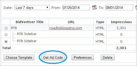 bidvertiser ad code