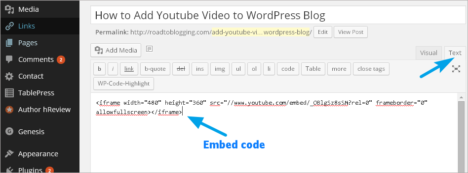 youtube embed code on wordpress