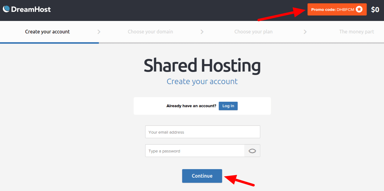Create your account DreamHost