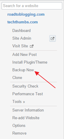 Backup your site