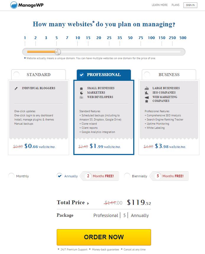 ManageWP plans