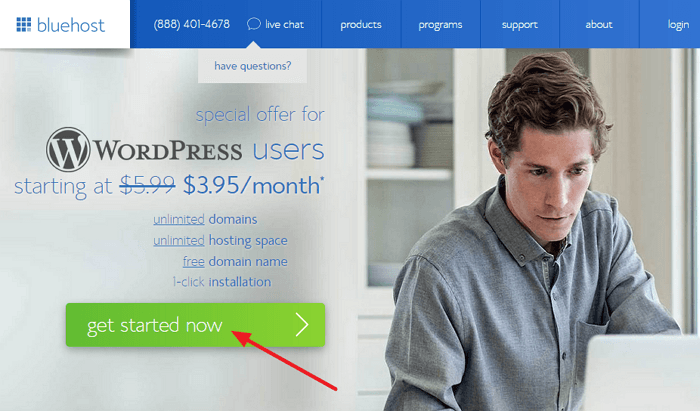 Bluehost WordPress Hosting Coupon [current_date format=Y] - $3.95/mo + FREE Domain! 1