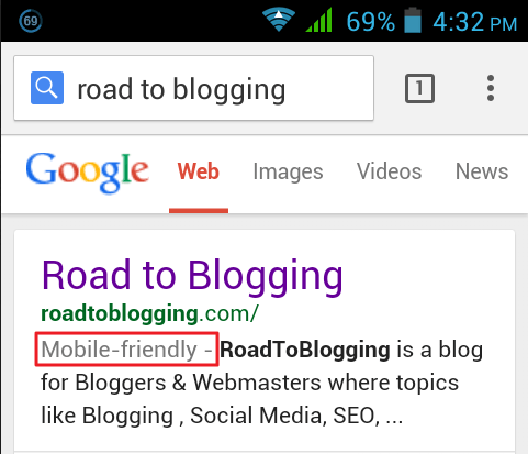 mobile friendly lebel in search results