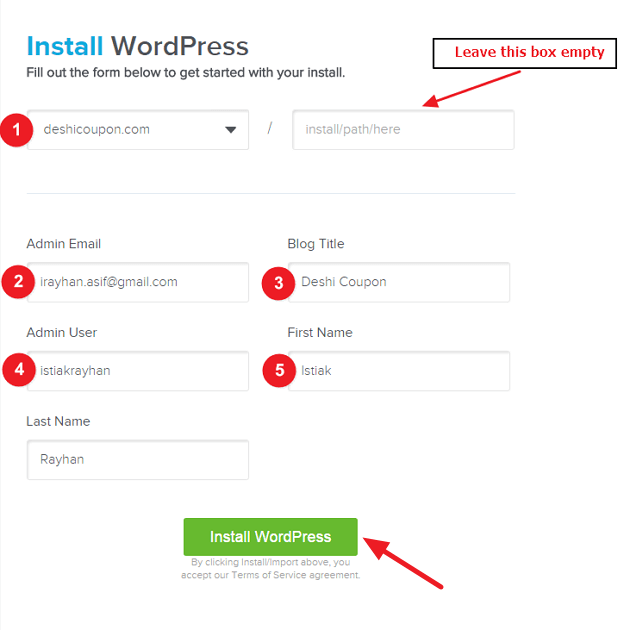 One Click WordPress Installation