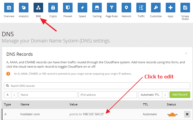 CloudFlare DNS change