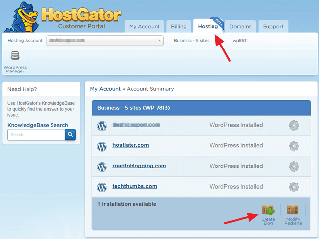 HostGator Customer Portal