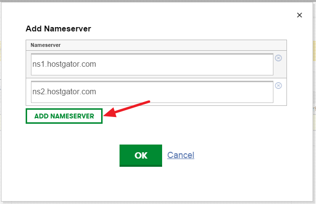 Add HostGator Nameservers