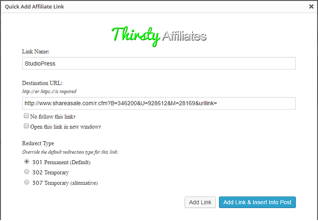 Quick Add Affiliate Link