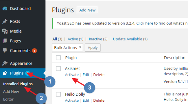 Activate Akismet Plugin