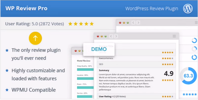 WP Review has both free and premium version that lets you create review content without affecting the speed of your site.