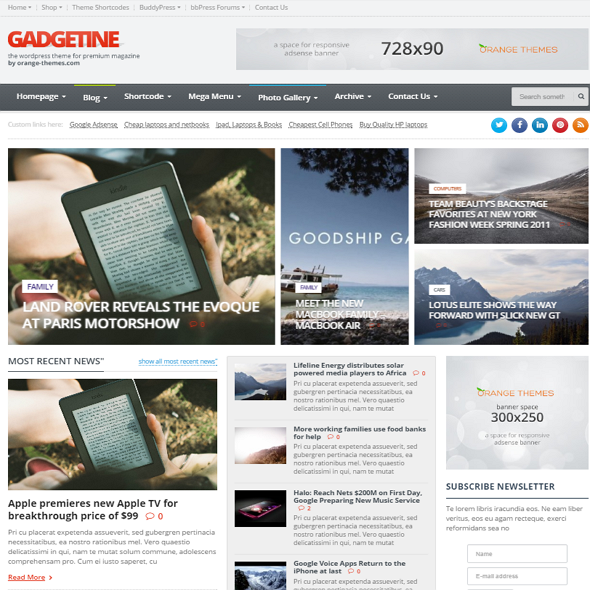 Gadgetine WordPress Theme
