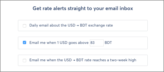 You Can Get Rate Alerts For The Daily Exchange Or When Goes Above A Specific Reaches Two Week High