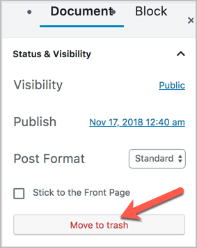 Deleting a post on WordPress