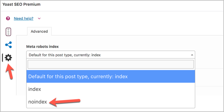 Tag a page as noindex in WordPress