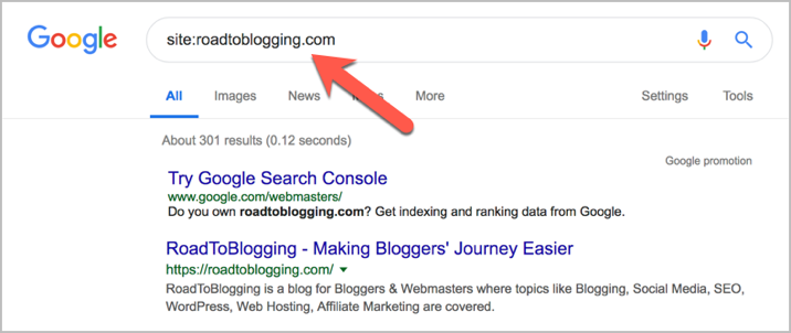 check the all indexed pages of your blog in Google